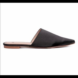 H & M black satin pointed toe slides